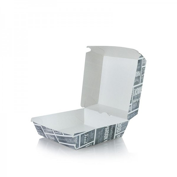 Deli-Vinos Kitchen Accessories - Einweg Burger-Box M 115x115x70mm Pappe Kreide Konzept