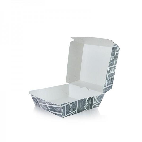 Deli-Vinos Kitchen Accessories - Einweg Burger-Box S.90x90x70mm Pappe Kreide Konzept
