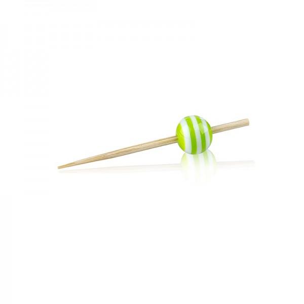 Deli-Vinos Kitchen Accessories - Holz Spieße mit Kristallkugel grün/weiß gestreift 5cm