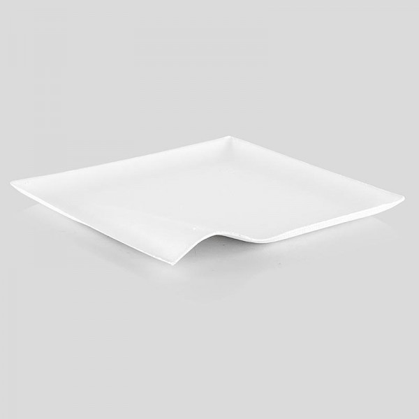 Deli-Vinos Kitchen Accessories - Einwegteller Wave aus Zuckerrohrfasern weiß quadratisch mit Welle 8x8cm