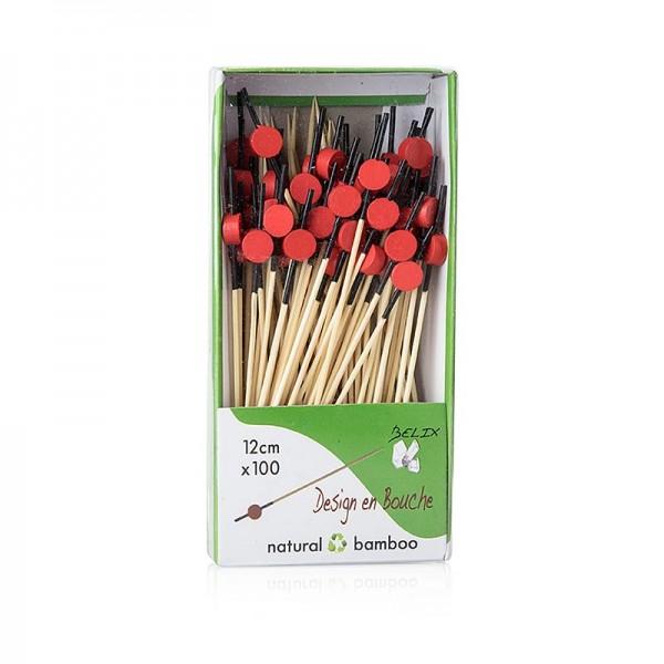 Deli-Vinos Kitchen Accessories - Bambus Spieße mit schwarz gefärbtem Ende rote Scheibe 12cm