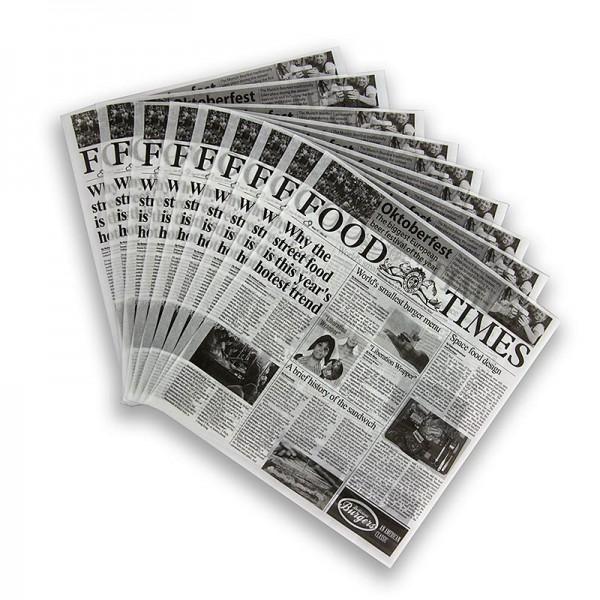 Deli-Vinos Kitchen Accessories - Snack Papier mit Zeitungspapierdruck ca.290x300mm Food Times
