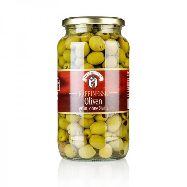 Hellriegel Raffinesse - Grüne Oliven ohne Kern in Lake