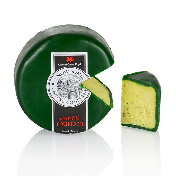 Snowdonia - Snowdonia - Green Thunder Cheddar Käse mit Knoblauch & Kräutern grüner Wachs