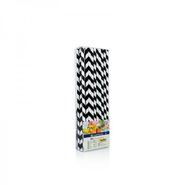 Gastroline - Papier Trinkhalme JUMBO Streifen schwarz-weiß 25cm