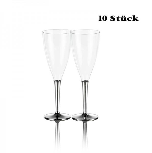 Deli-Vinos Kitchen Accessories - Einweg Champagnerglas Kunststoff mit silberfarbenem Fuß