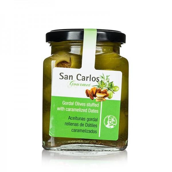 San Carlos Gourmet - Grüne Gordal Oliven ohne Kern mit karamellisierte Datteln San Carlos Gourmet