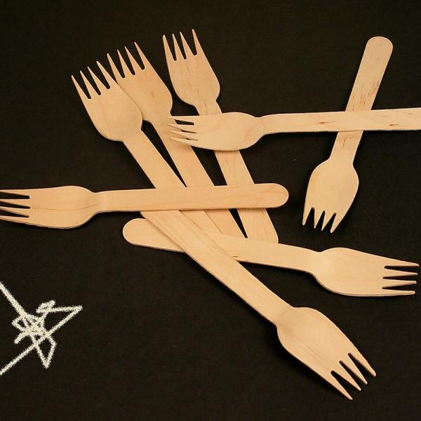 Deli-Vinos Kitchen Accessories - Einweg Holz-Gabeln mit 4 Zinken