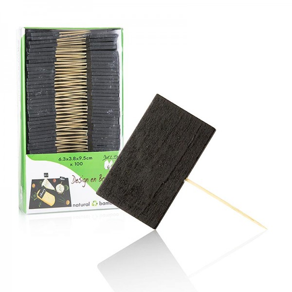 Deli-Vinos Kitchen Accessories - Holz Spieße mit Schiefertafel 6.3x3.8cm