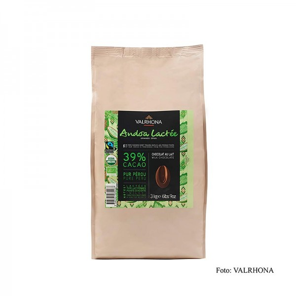 Valrhona - Valrhona Andoa Lactée Couverture Vollmilch Callets 39% Kakao BIO