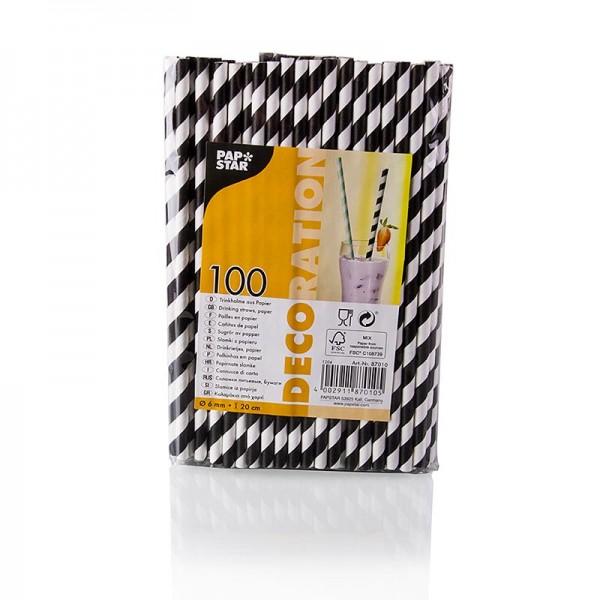 Papstar - Einweg Papier Trinkhalme Streifen schwarz-weiß 20cm