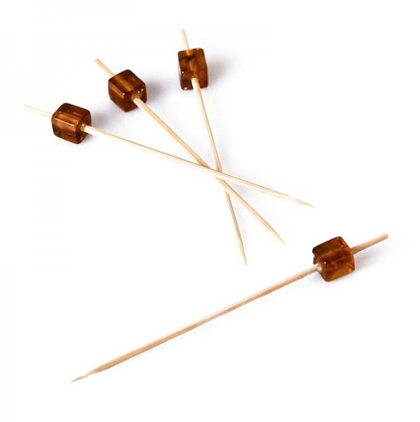 Deli-Vinos Kitchen Accessories - Holz-Spieße mit bernsteinfarbenem Würfel 9cm