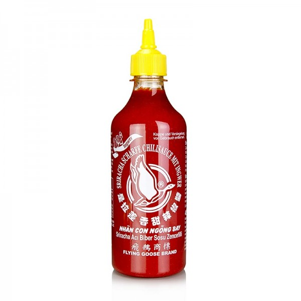 Flying Goose - Chili-Sauce - Sriracha mit Ingwer scharf Squeeze Flasche Flying Goose