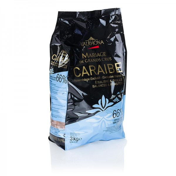 Valrhona - Pur Caraibe Grand Cru dunkle Couverture Callets 66% Kakao