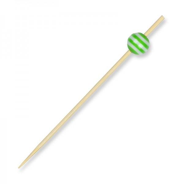 Deli-Vinos Kitchen Accessories - Holz-Spieße mit Kristallkugel grün/weiß gestreift 9cm